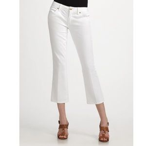 EUC Tory Burch white crop embroidered jeans 30